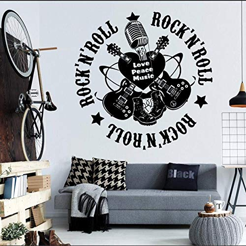 hetingyue Rockmusik gitaar kunstwand woonkamer muursticker vinyl wandtattoo decoratie mode muziek