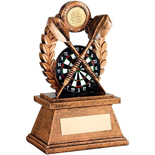 Kunstharz Darts Trophy Award mit Dartscheibe und Darts erhältlich in 3Größen mit gratis Gravur bis zu 30Buchstaben (17,8cm jr3-rf563b)