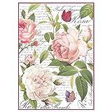 Damperia DFSA4304 Papier de riz A4 Motif roses vintage Multicolore 29,7 x 21 cm