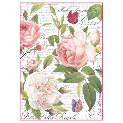 STAMPERIA DFSA4304 A4 Decoupage carta di riso confezionata Vintage Rose, Multicolore, 29,7 x 21 cm