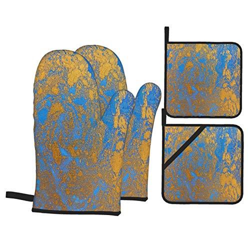 Juegos de Manoplas y Porta ollas para Horno,Textura líquida Azul y Dorada, Ilustración de veteado Dibujado a Guantes de Cocina Resistentes al Calor para Hornear en la Cocina, Parrilla, Barbacoa,BBQ