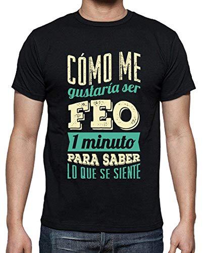 latostadora - Camiseta Feo por un Minuto para Hombre Negro L