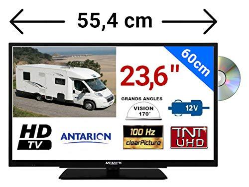 TÉLÉVISEUR pour Camping Car LED 23' 6 60cm 12V HD Lecteur DVD TNTUHD ANTARION - ATVLT24DVDB