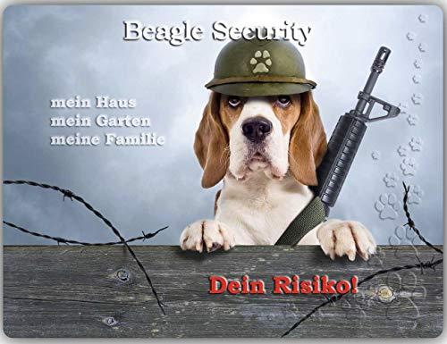 Merchandise for Fans Warnschild - Schild aus Aluminium - Motiv: Beagle (01) - Größe: 30x20cm