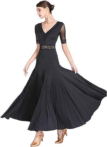 Couture de Dentelle Col en v Robes de Pratique de Danse Moderne de Perforhommece pour Dames Lisse Robe de Danse de Salon Stretch Valse Simple et Classique