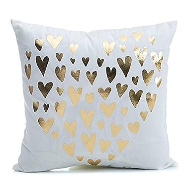 CH 45 X 45cm Bronzing Pattern Design PP Cotton Home Pillowcases Throw Pillow Cover (Heart)