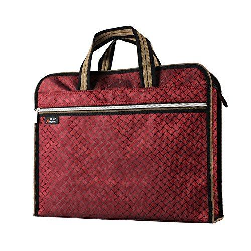 File Organizer Holder 2 Pocket Folders Portable Document Zipper Bag Waterproof Fabric Nylon Canvas Briefcase