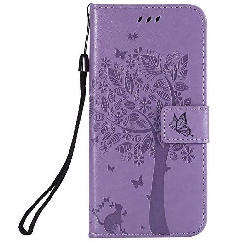 Ysimee Coque Samsung Galaxy S9, Étui Portefeuille Galaxy S9 Housse Folio à Rabat en Cuir Wallet Case avec Porte Carte Fonction Support Fermeture Magnétique Livre Coque de Protection,Violet Clair