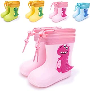 Botas de lluvia, unisex, para niños y niñas, cómodas, ligeras, con dinosaurios, zapatos de lluvia, Rosa (Rosa con forro), ...
