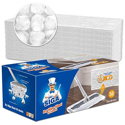 MR.SIGA Mikrofaser Trocken fegen Nachfüllpackung,Einsatz trocken Kehrtücher für bodenreinigen,geruchlos,50 Stück