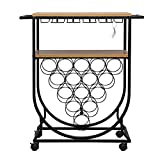 Youareking Bar Carts for Home, Mobile Wine Cart on Wheels, Wine Rack Table with Glass Holder, Utility Kitchen Serving Cart with Storage, Wood and Metal Frame,Convenient Wine Rack Cart