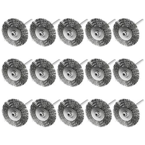 Magic&shell Wire Brush 15PCS 25mm Flat Wire Brushes Stainless Steel Wire Brush 1/8' Shank for Compatible Rotary Tool