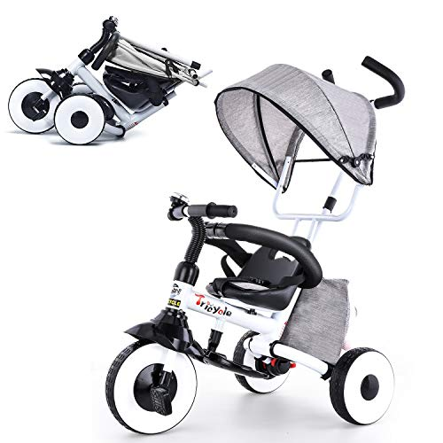 KESAIH Triciclo 4 en 1, plegable para niños con ruedas que absorben golpes, frenos dobles, toldo ajustable, barandilla de esponja, triciclos para 1 2 3 4 5 años, bicicleta de bebé (gris)