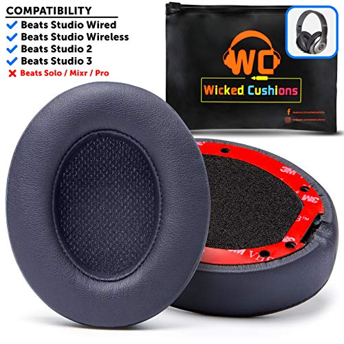 Premium Beats Studio Replacement Ear Pads by Wicked Cushions - Compatible with Beats Studio 3/2 / Wired/Wireless - Extreme Comfort with Ear Adapting Memory Foam & Super Strong Adhesive | Titanium