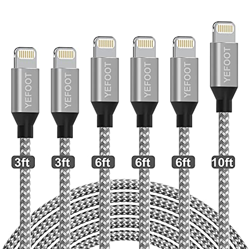 iPhone Charger, YEFOOT [Apple MFi Certified] Cable 6Pack[3/3/6/6/6/10ft] Nylon Braided Fast Charging Long Compatible iPhone 12Pro Max/12Pro/12/11Pro Max/11Pro/11/XS/Xs Max/XR and More-Silver&White