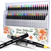 Ohuhu Watercolor Brush Markers Pen, 48 Colours Water Based Drawing Marker Brushes with 2 water brushes, Water Soluble...