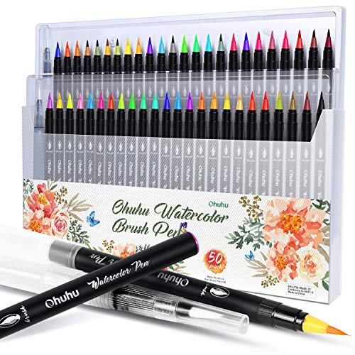 Professional Watercolor Brush Markers Pen 48 Colors of Ohuhu, Water Based Drawing Marker Brushes W/A Blending Aqua Pen, Water Soluble for Adult Coloring Books Comic Calligraphy Back to School