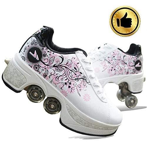 ANXWA Rollschuh Deformationsschuhe Für Frauen Muster Druck Rad Sneakers Double Line Freizeitschuh,37