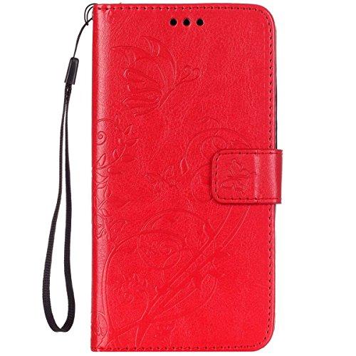 ISAKEN Huawei G8 Hülle, PU Leder Brieftasche Wallet Case Cover Ledertasche Handyhülle Tasche Schutzhülle mit Handschlaufe Standfunktion für Huawei G8 / Huawei GX8 - Blume Schmetterling Rot