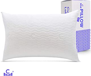 Cushion Lab Adjustable Shredded Memory Foam Pillow for Back, Stomach, Side Sleeper - Bamboo Pillow for Sleeping & Neck Pain Relief, Washable Hypoallergenic Cover, CertiPUR US - 20 X 26 Size, Standard