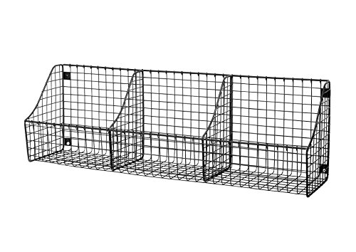 Spectrum Diversified Mount Triple Wire 3 Storage Bins Decor Entryway Organization Rustic Farmhouse Wall Basket Industrial Gray