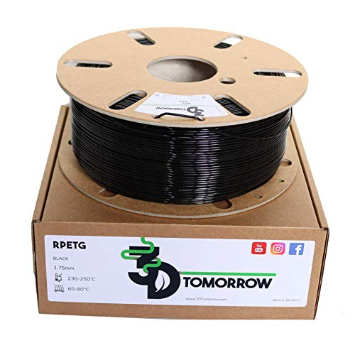3DTomorrow rPETG Filament 1.75mm, 100% Recyclable Cardboard Spool, 97%+ industrial recycled content, Eco Friendly 3D Printer PETG Filament (Black)