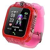Nrpfell Reloj Inteligente para Ni?Os S12 con Pantalla HD IP67 Reloj GPS Resistente Al Agua Video Chat Pantalla de Prensa Reloj Inteligente -Rosa