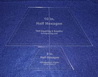 Half Hexagon Quilt Templates 5 and 10 Inches Clear with Center Guideline 1/8 Inch Thick