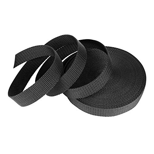SUNTATOP 10M/11 Yards Heavy Webbing Strap Nylon Bands for DIY Sewing Craft Backpack Strapping Accessories,25mm Wide,Black
