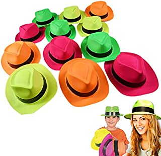 Dazzling Toys Neon Plastic Gangster Hats - 12 Pack - Dress Up Toy, Party Favor & Accessory for Photo Booths & Themed Parties - Assorted Colors