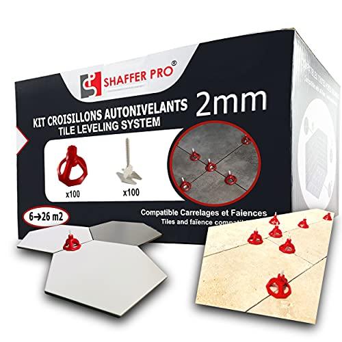 SHAFFER PRO - Croisillon carrelage autonivelant 2mm Kit - 100 cadrans récupérable + lot 100 croisillons - système de nivellement à visser de carrelage - nivelant clips carreleur joint sol niveleur