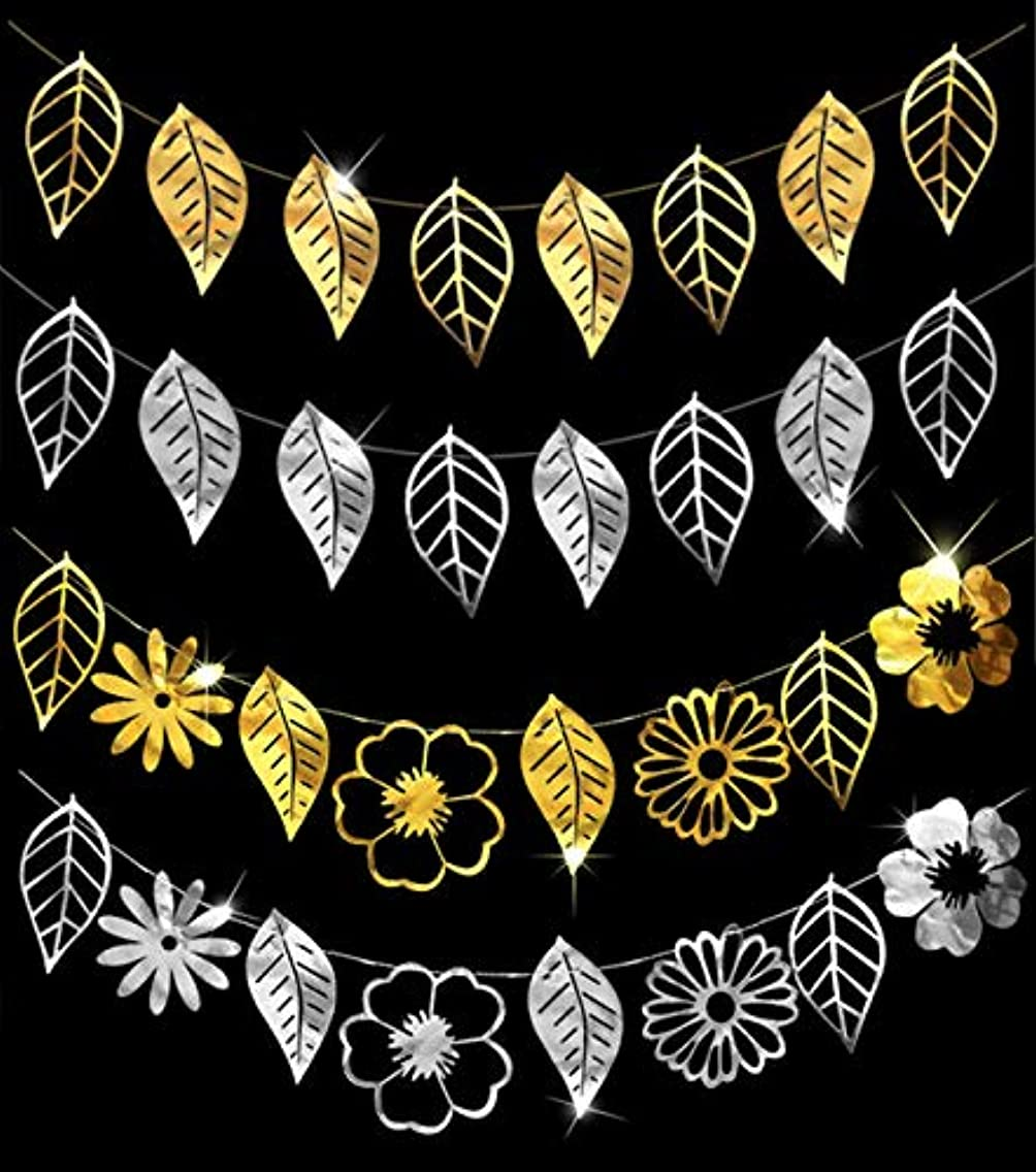 KEFAN Silver Gold Decorations Tropical Leaves Flower Banner Garlands for Luau Hawaiian Party Jungle Beach Theme Wedding Baby Shower Birthday Supplies blumwgg42