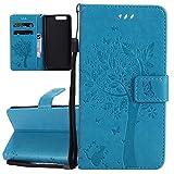 ISAKEN Compatibile con Huawei P10 Plus Custodia, Libro Flip Cover Portafoglio Wallet Case Albero Design in Pelle PU Protezione Caso con Supporto di Stand/Carte Slot/Chiusura - Blu