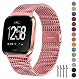 Fitlink Metal Bands Compatible for Fitbit Versa/Versa Lite Edition/Versa 2 Smart Watch for Women and Men,Small and Large, Multi-Color (Rose Gold, Small)