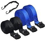 Correa de Amarre, BMSZW 5 Pcs Correa de Amarre con Hebilla 2.5m/5m,Resistente a 250 Kg,Cinchas de Amarre con Trinquete Tensoras Correas para Baca Coche, Portabicicletas, Kayak(Azul y Negro)
