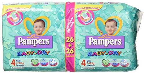 Pampers Baby-Dry 4 Maxi 7 - 18 kg 26 + 26 Windeln