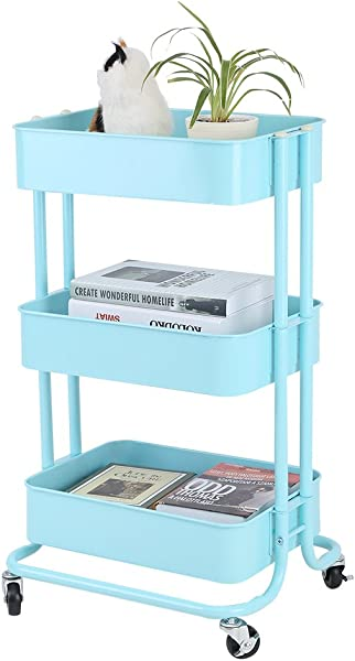 AYNEFY Multi Purpose Cart For Storage 3 Tier Blue White Gray Home Organizer Storage Trolley Cart With 360 Flexible Rolling Wheels Space Saving Cart For Kitchen Living Room Light Blue