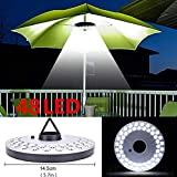 Mallallah lámparas de campaña Camping sombrilla de jardín 48Bombillas LED inalámbrico 3Mode Diferentes de Luces Patio, terraza, jardín, Gran Paraguas