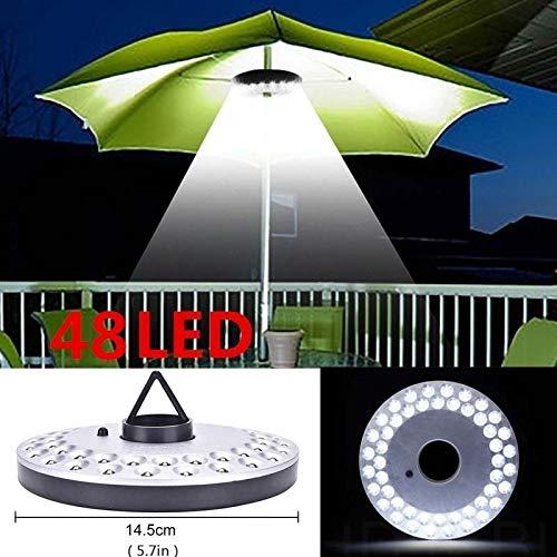 WyTosa Regenschirm Licht Sonnenschirm Beleuchtung 48 LED Garten BBQ Lampe Camping Lampe Nachtlicht Drahtlose Garten Sonnenschirm Licht Batteriebetriebener Außenbalkon Regenschirm Mast Pol für Camping