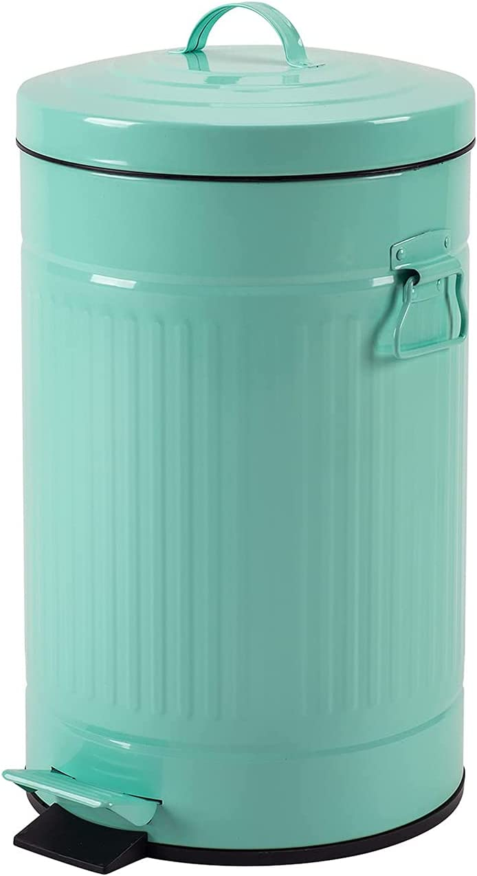 Mint Green Max 43% OFF Trash Can with Bargain sale Turquoise Bedroom Bathroom Lid Waste