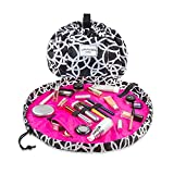 Lay-n-Go Cosmo Drawstring Makeup Organizer Cosmetic & Toiletry Bag for Travel, and Daily Use with a Durable Patented Design, 20 inch, Circles (Black/White)