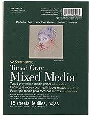 "Strathmore 400 Series Toned Gray Mixed Media Pad, 6""x8"" Glue Bound, 15 Sheets per Pad"