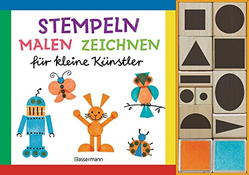 Stempeln, malen, zeichnen-Set. Nach den Grundsätzen des Bauhaus, Weimar. Gestalten mit geometrischen Grundformen: für kleine Künstler. Buch mit 10 Holzstempeln und 2 Stempelkissen