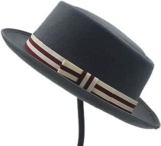 Women's Flat Homburg Fedpra Hat Winter Autumn Elegant Hat Wool Boater Hat with Punk Belt Tocados Invitada Boda (Color : Gray, Size : 56-58CM)