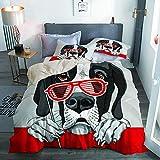 Haoerwu Juego de Ropa de Cama 3 Piezas Microfibra,Perro Gran danés con una Parrilla roja Gafas fotomatón,1 Funda Nórdica y 2 Funda de Almohada (Cama 220 x 240cm)