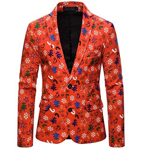 Mannen pak mantel kerst blazer jas mode 3D cartoon kerst print pak jacks voor party slim fit casual mannen, E