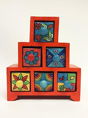 Marrakesch Orient & Mediterrane Interior ® Indiase Mini Kast Ibada, 6 stuks