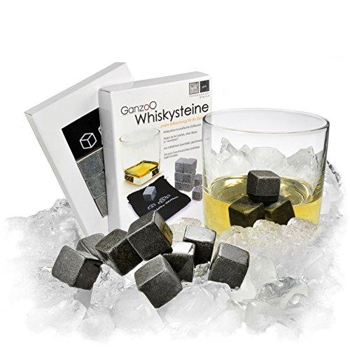 Ganzoo Whisky-Steine aus natürlichem Speckstein (grau) im 9er Set für Getränke