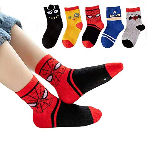 5 Paar Superhelden-Kindersocken. The Avengers Kindersocken, Baumwollsocken, Bettsocken. Spiderman, US-Kapitän, Superman-Socken Gr. 3-5 Jahre, Mehrfarbig