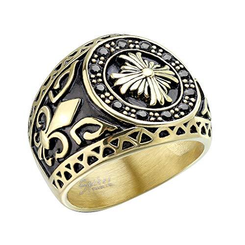 Mianova Herren Ring Edelstahl Massiv Breit Herrenring Männer Biker Rocker es Kreuz vergoldet mit Bourbonische Lilie Silber Größe 60 (19.1)